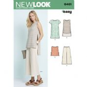 6461 New Look Pattern: Misses' Dress, Tunic, Top and Cropped Trousers
